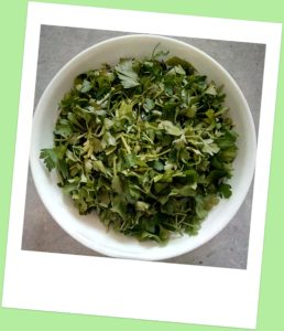 Bowl of chopped parsley
