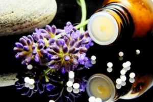 Picture of bottle and ingredients for homeopathy