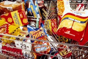 unhealthy snacks in a shopping cart