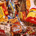Shopping cart with junk snacks