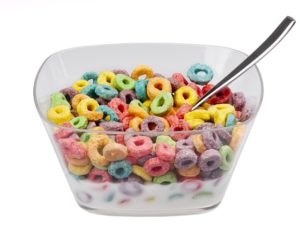 colored breakfast cereal